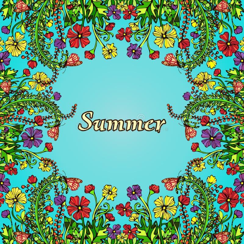 Blomma ramen, gränsen, kortet, sommarprydnad i stilen av bohostil, hippie vektor illustrationer