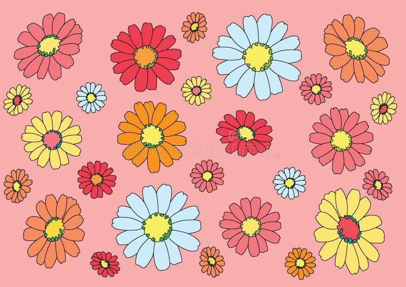 Blomma som ?r f?rgrik p? rosa bakgrund stock illustrationer