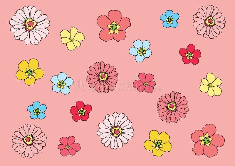 Blomma som ?r f?rgrik p? rosa bakgrundsillustration vektor illustrationer