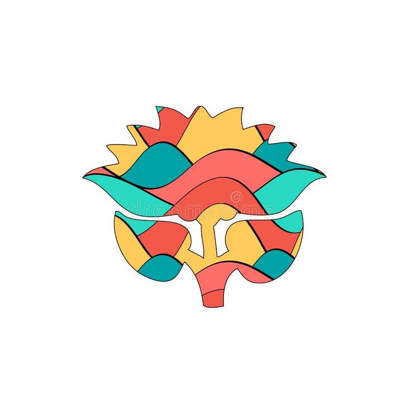 Blomma stiliserat färgrikt stock illustrationer
