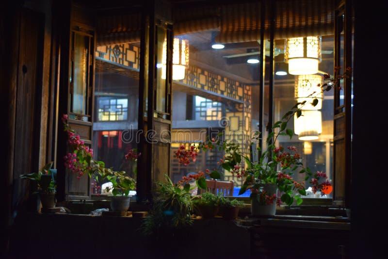 Blomma vid fönstret arkivbild