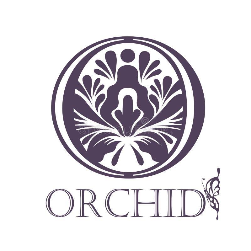 Blommabakgrundsmall Lotus Symbol logo royaltyfri illustrationer
