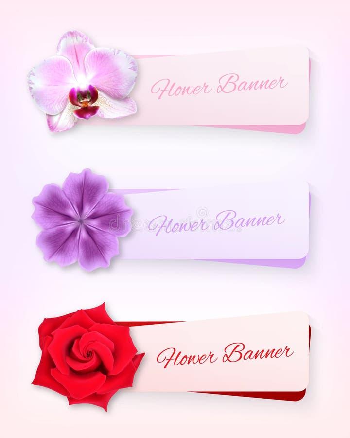 Blommabaneruppsättning vektor illustrationer