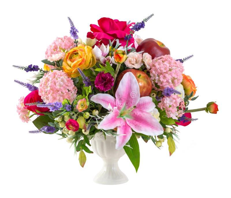 Blommabukett i keramisk vas arkivbilder