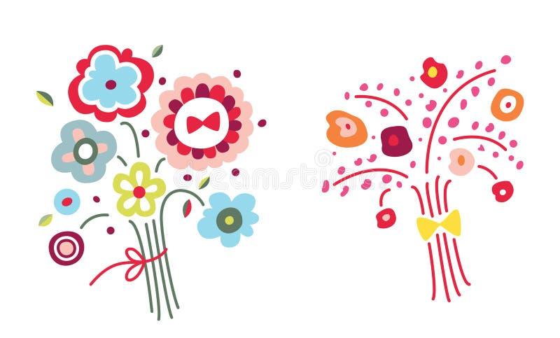 Blommabuketter stock illustrationer