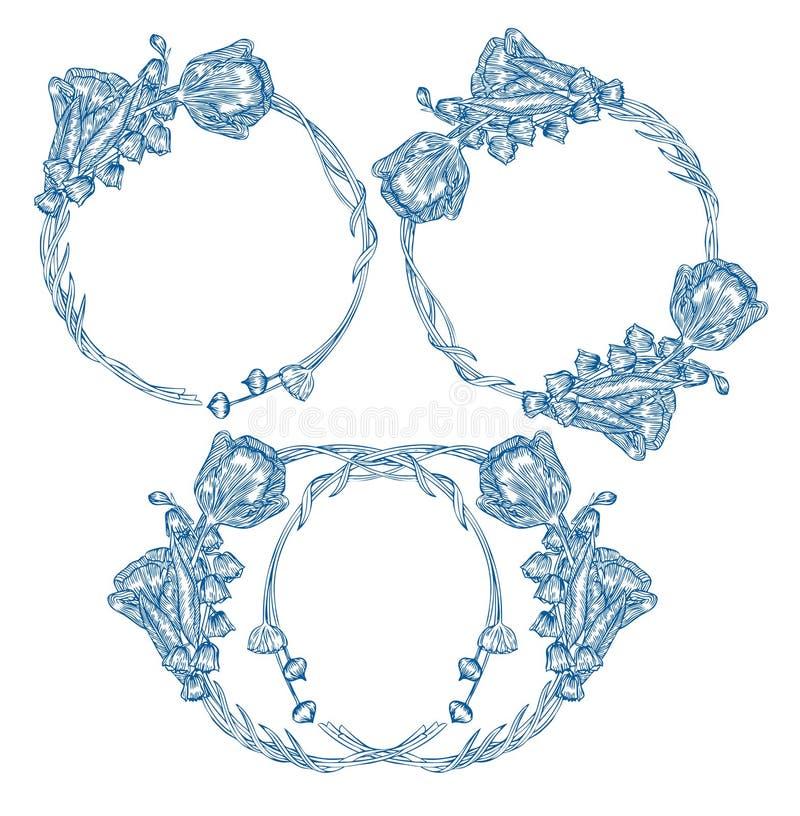 Blommabukettmallar Vecter beståndsdel vektor illustrationer