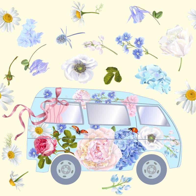 Blommabussmodell royaltyfri illustrationer