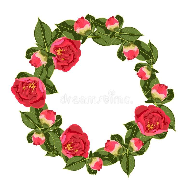 Blommacirkel med sidor och blommor vektor Designen av inbjudan royaltyfri illustrationer