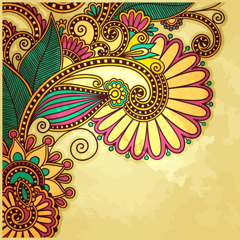 Blommadesign på grungebakgrund stock illustrationer