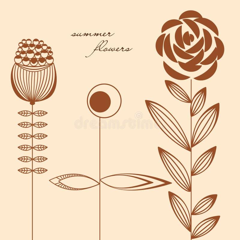 Blommadesignbeståndsdelar vektor illustrationer