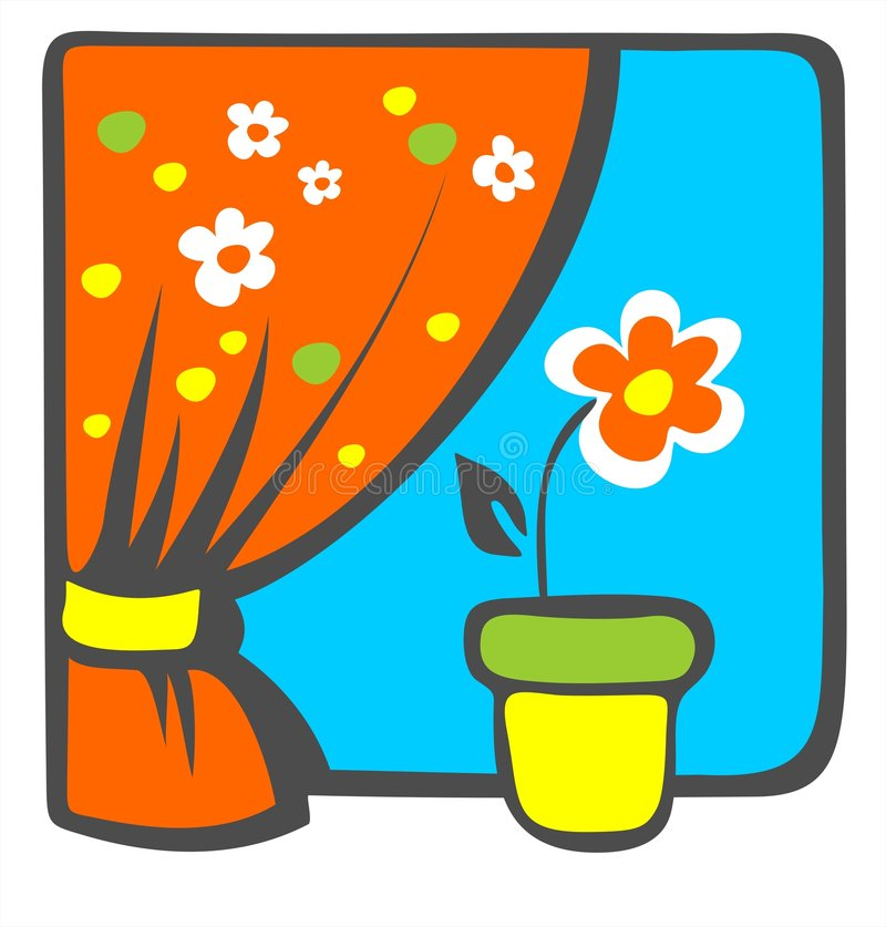 blommafönsterbräda royaltyfri illustrationer
