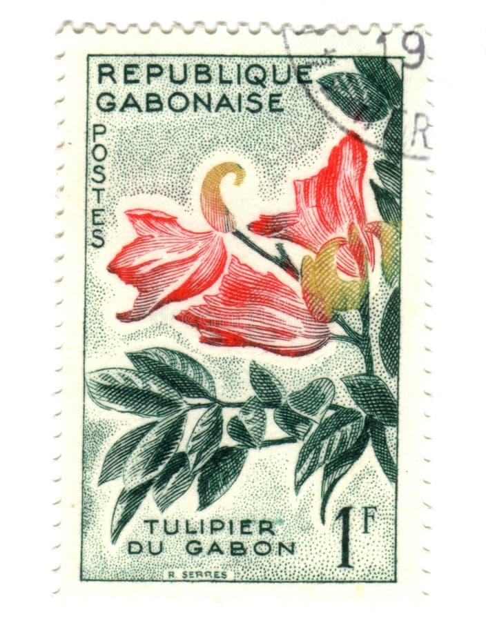 blommagobonstämpel royaltyfri bild