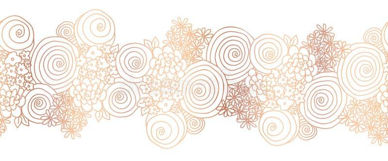 Blommagränskopparfolie Den skinande metalliska sömlösa blom- vektorgränsen steg guld- Blommor som upprepar bakgrund stock illustrationer