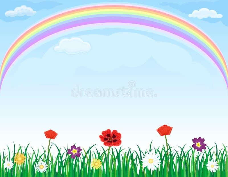 blommagräsäng över regnbågen vektor illustrationer