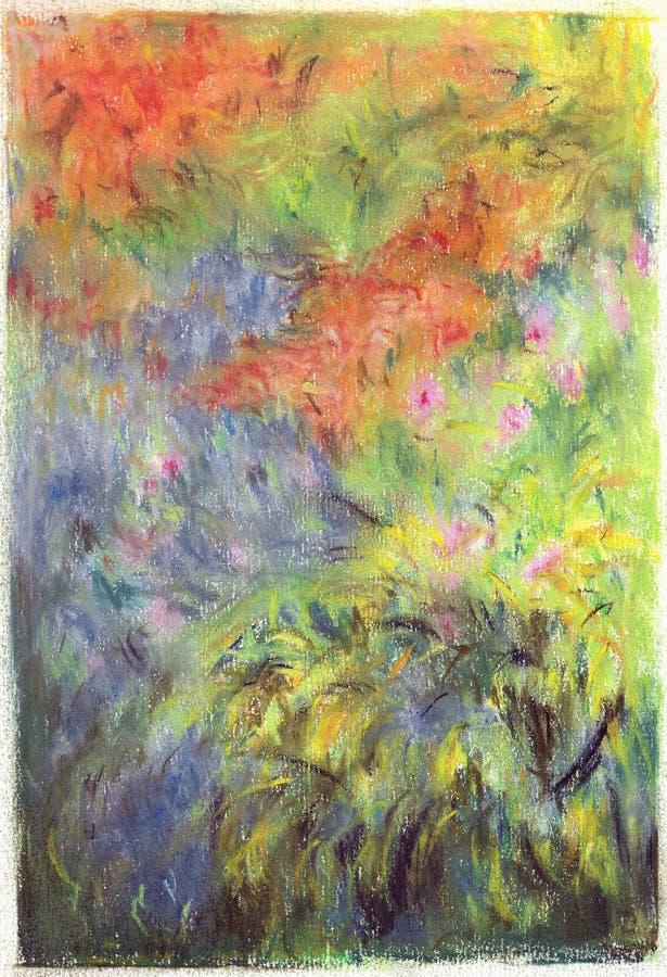 blommagräsmålning royaltyfri illustrationer