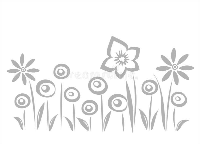 blommagreysilhouettes royaltyfri illustrationer