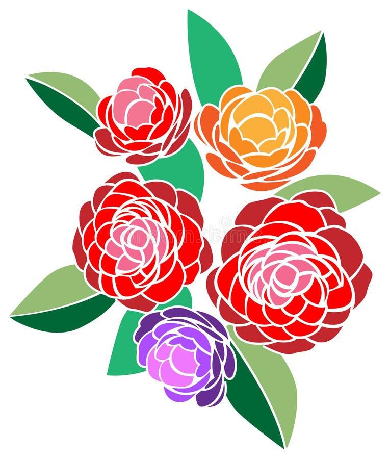 Blommagrupp royaltyfri illustrationer