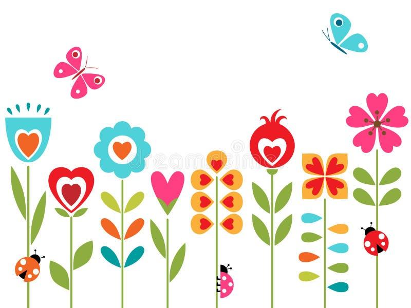 Blommahjärtadesign royaltyfri illustrationer