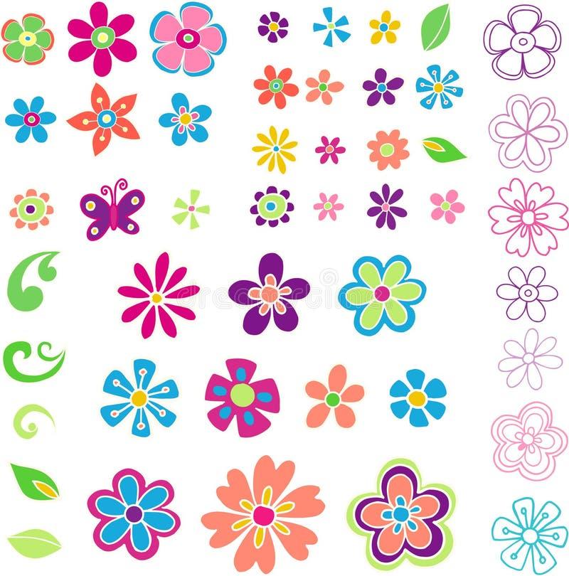 blommaillustrationleaves royaltyfri illustrationer