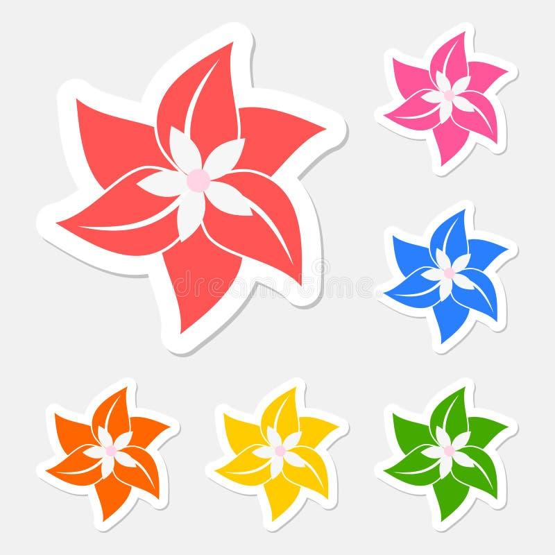 Blommaklistermärkeuppsättning stock illustrationer
