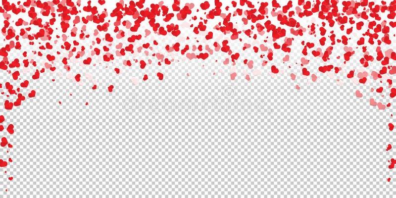 Blommakronblad i form av hjärtakonfettier royaltyfri illustrationer