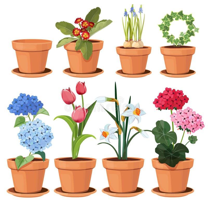 Blommakruka Dekorativa kulöra växter växer hemma i roliga krukor, vektortecknad film somillustrationer ställer in isolerat stock illustrationer