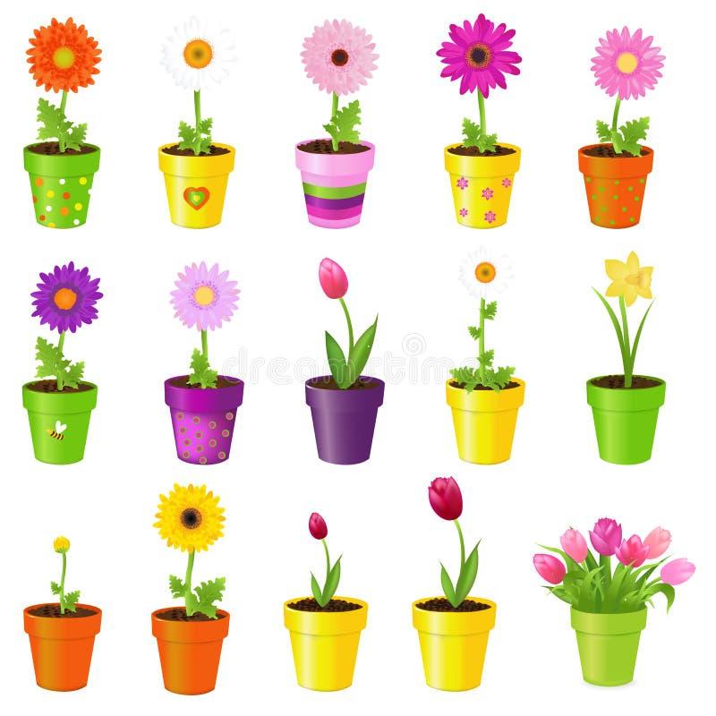 blommakrukar royaltyfri illustrationer