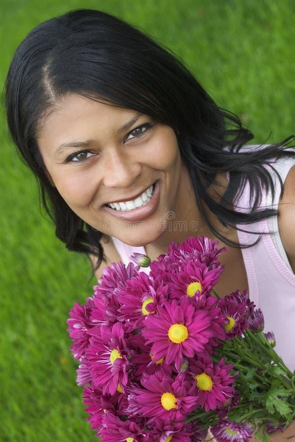 blommakvinna royaltyfri bild