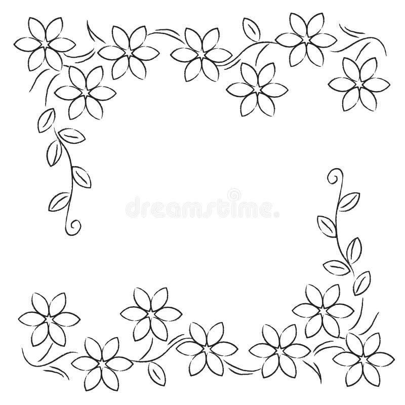 Blommalinje gränssvartvit stock illustrationer