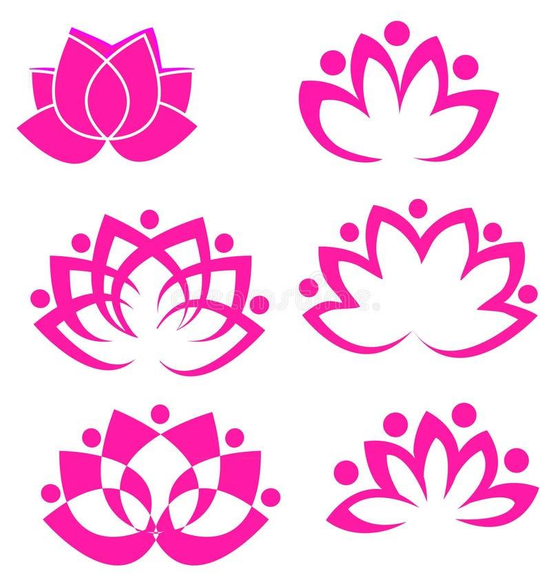 blommalotusblommaset royaltyfri illustrationer