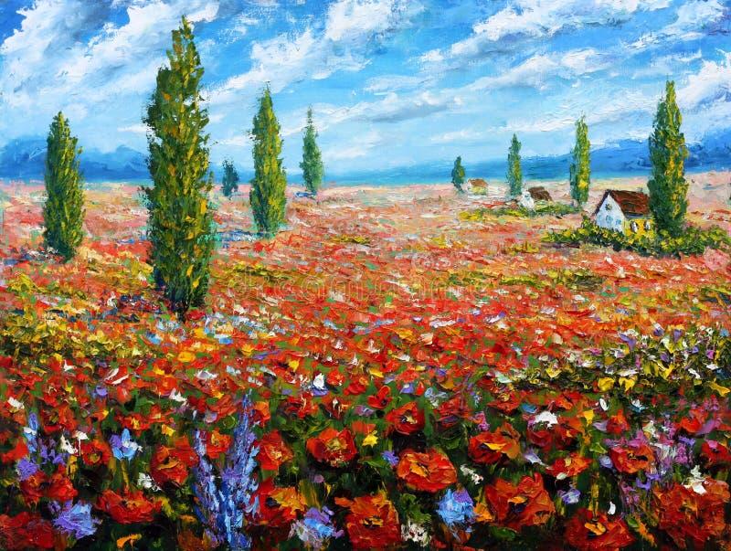 Blommamålningfält av röda vallmo ORIGINAL- olje- målning av blommor, härligt rött blommalandskap royaltyfri illustrationer
