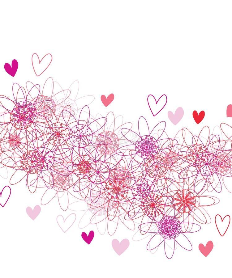 Blommamandalalinje ram för röd färg för stråle stock illustrationer