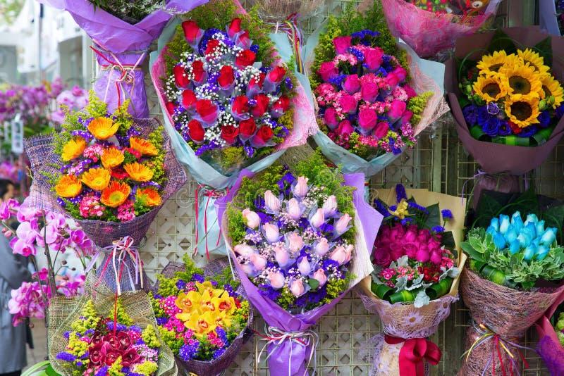Blommamarknad i Hong Kong fotografering för bildbyråer