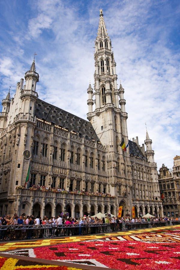 Blommamatta i Bryssel arkivfoto