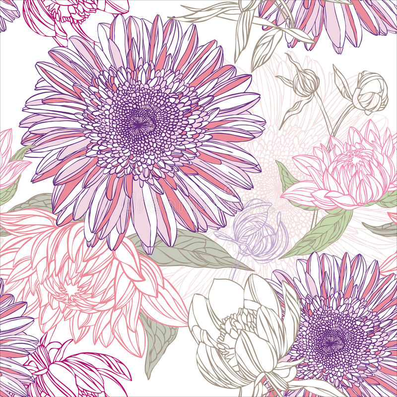 blommamodell stock illustrationer
