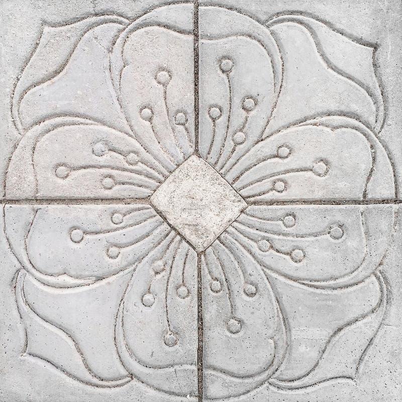Blommamodell graven Gray Tile royaltyfri bild