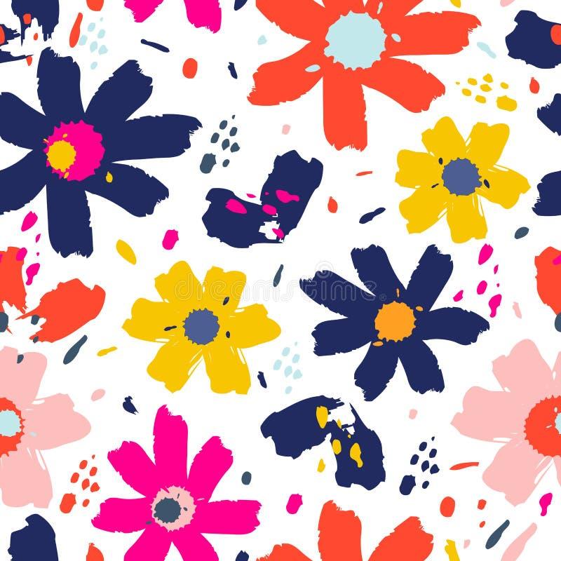 Blommamodell med blommor Utdragen vektorillustration för hand för ditt designkort royaltyfri illustrationer