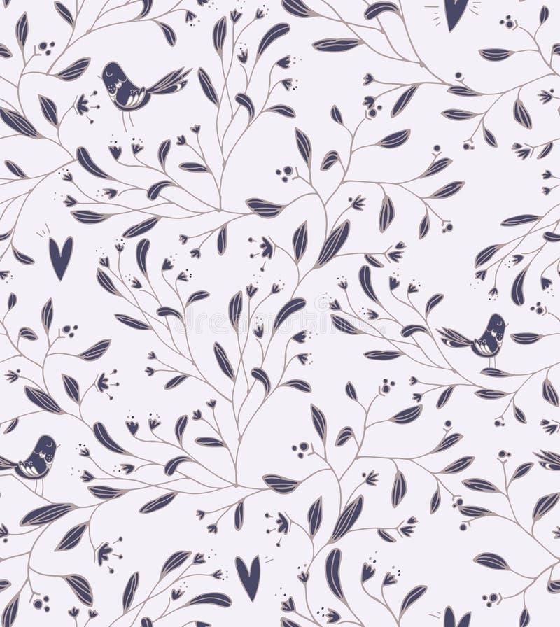 Blommamodell med fåglar royaltyfri illustrationer