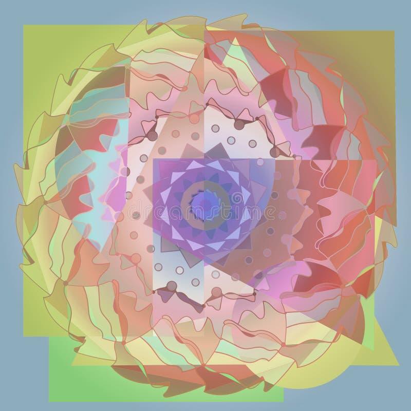BLOMMAN BEFJÄDRAR MANDALAEN geometrisk bakgrund PALETT FÖR PASTELLFÄRGADE FÄRGER I GRÖNT, GULT, ORANGE, PURPURFÄRGAT OCH BRUNT stock illustrationer