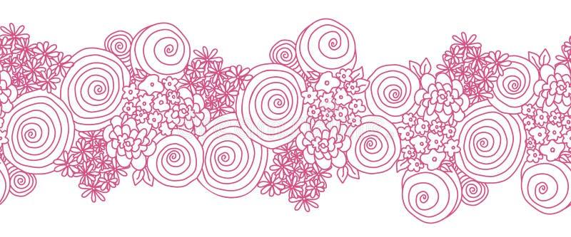 Blomman gr?nsar Sömlösa blom- vektorgränsrosa färger Blommor som upprepar bakgrund som är rosa på vitt stock illustrationer