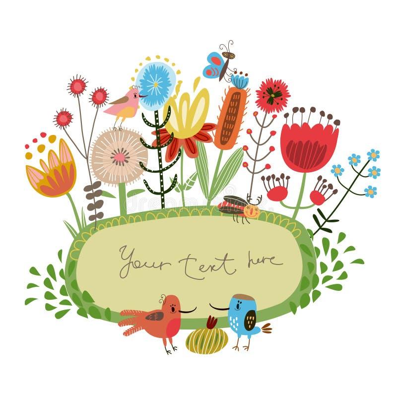 Blomman inramar gulliga blommor och fåglar vektor illustrationer