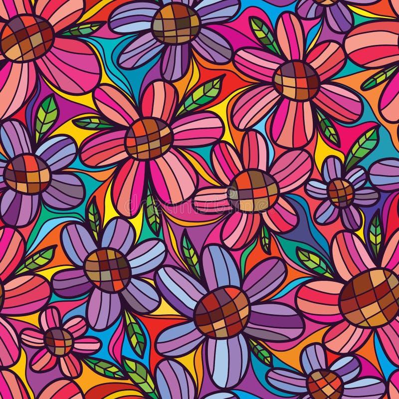 Blomman litar den sömlösa modellen för blomman stock illustrationer