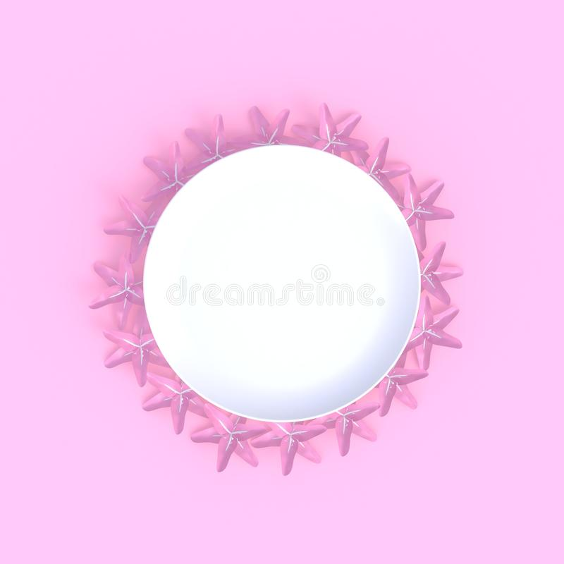 Blomman med abstrakt minsta rosa bakgrund för den tomma vita maträtten, matbegreppet, bästa sikt, lägger framlänges stock illustrationer