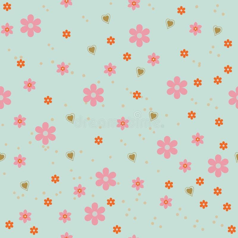 Blomman och hjärtor gör sammandrag bakgrund stock illustrationer