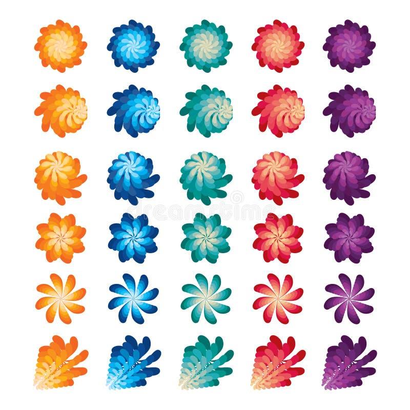 Blomman roterar väderkvarnfärguppsättningen vektor illustrationer