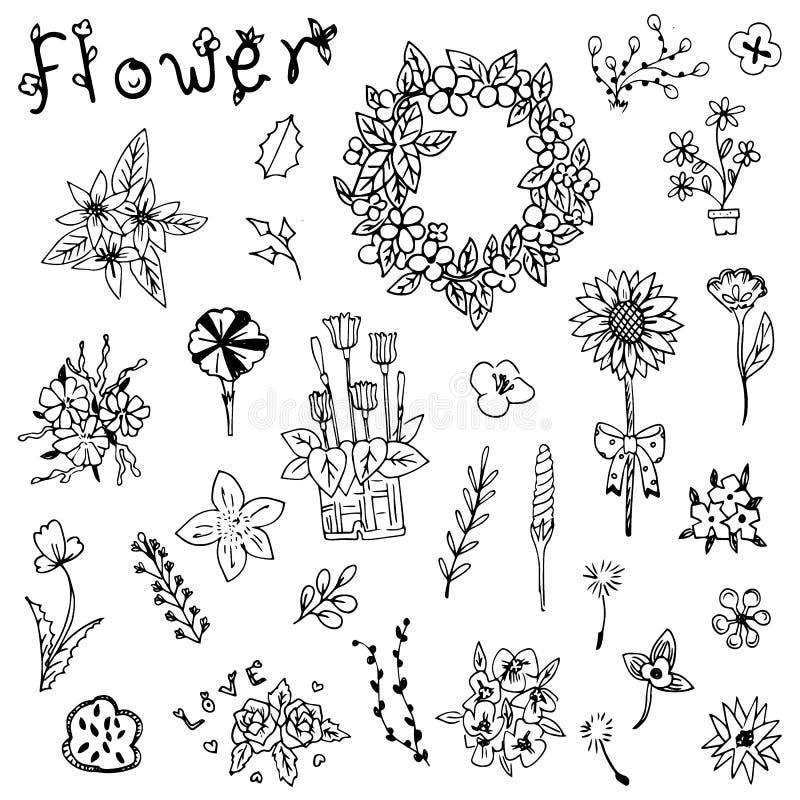 Blomman skissar i klotterlinjen vektoruppsättning royaltyfri illustrationer