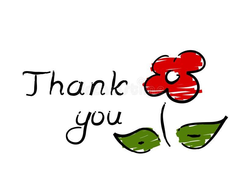 blomman tackar dig stock illustrationer