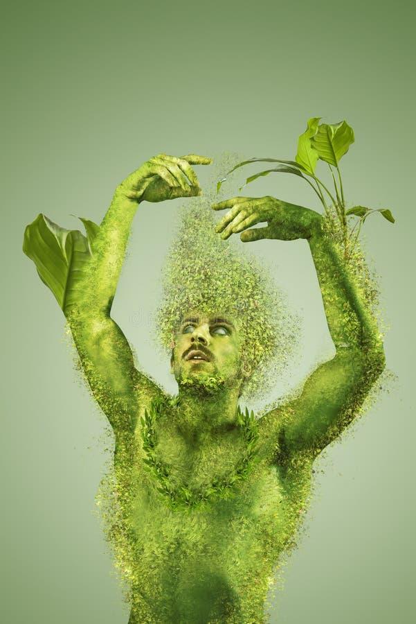 Blommande man-, strikt vegetarian- och vegetarianbegrepp arkivfoto