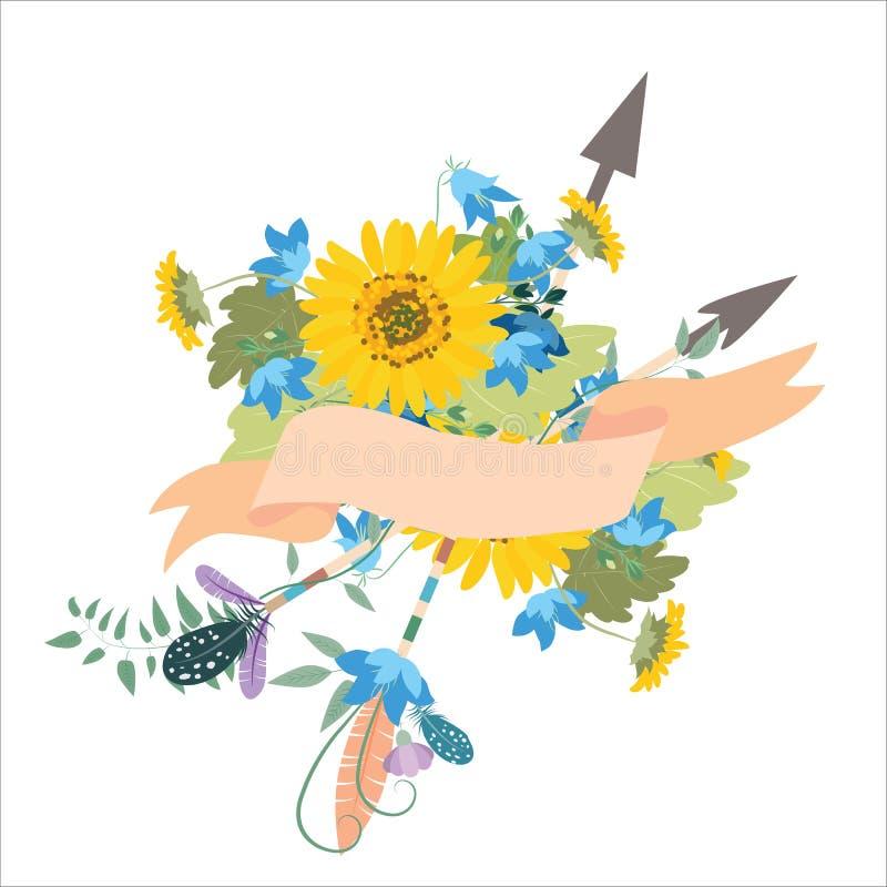 Blommaordning med solroskolokolchiklmpilar stock illustrationer