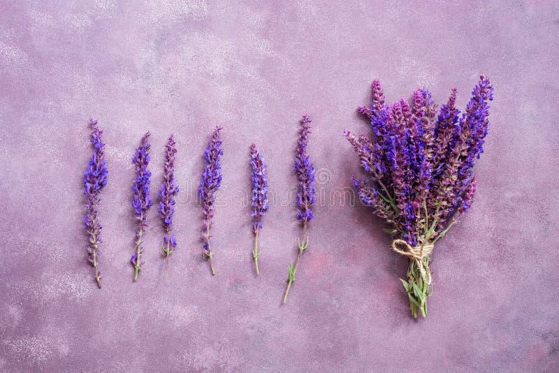 Blommaordning och en bukett av purpurfärgade blommor på en härlig bakgrund Sikt fr?n ?ver, framl?nges lekmanna- arkivbild